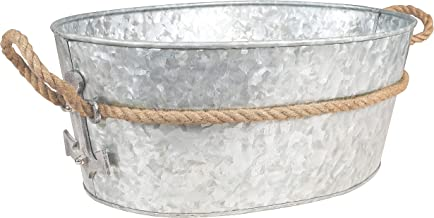 Galvanized Tub Beverage Ice Drink Tub - Party Accessory, Rust Trim and Rope Handles, Rustic Home Decor Accessories, Gift Idea for Housewarming, Birthdays, and Christmas, Natural, 21 x 17 x 10 Inches