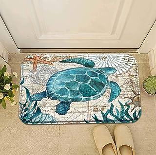 Personalised Design Decoration Classic Cartoon Sea Turtle Doormat Entrance Mat Floor Mat Rug Front Door/Indoor/Outdoor/Bat...