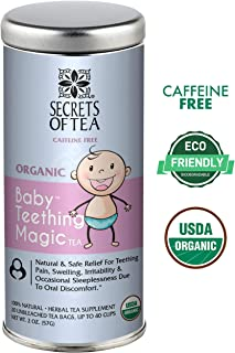 Baby Teething Relief, Baby Teething Magic Tea,60 Doses. Teething relief for Painful Gums, Irritability. Benzocaine, chemicals & Preservative-Free, Natural & USDA Organic Ingredients