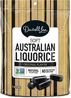Soft Australian Black Licorice - Darrell Lea 7oz Bag - NON-GMO, NO HFCS, Vegetarian & Kosher - America's #1 Soft Eating Licorice Brand!