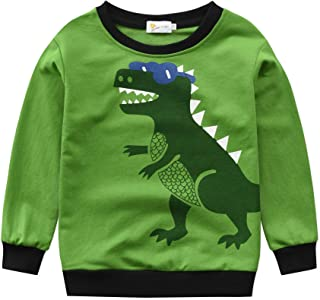 Harpily Boys T-Shirt Short Sleeve Dinosaur Print Cotton Tops Tees Outfits for Age 1-7 Years