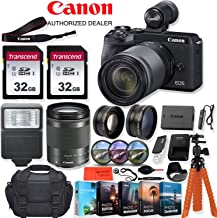 Canon EOS M6 Mark II Mirrorless Digital Camera with 18-150mm Lens (Black) and EVF-DC2 Viewfinder - 32.5 MP, 4K UHD + Accessory Kit - Vlogging/Photo Editing Software Package, 64GB Memory & More