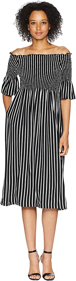 Kalani Off the Shoulder Striped Midi Dress