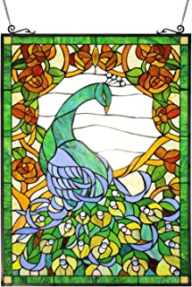 VINLUZ Tiffany Style 22``W 31``H Peacock Stained Glass Panel Decorative Hanging for Wall or Window