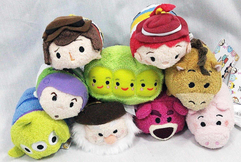 Disney Store Toy Story Tsum Tsum Complete Set of 9 Mini 3.5 - Buzz, Woody, Jessie, Bullseye, Hamm, Alien, Peas, Bear, Stinky Pete by Disney