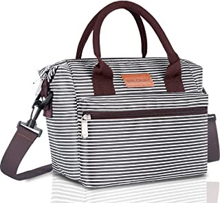BALORAY Lunch Bag for Women Insulated Lunch Box with Adjustable Shoulder Strap,Water-Resistant Leakproof Cooler Lunch Tote Bag for Work Picnic(G-206 Black&White Strip)