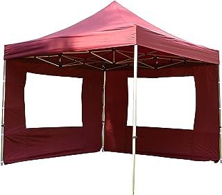 Nexos Hochwertiger Falt-Pavillon Partyzelt mit 4 Seitenteilen PROFI Ausführung für Garten Terrasse Feier Markt als Unterstand Plane wasserdichtes Dach 3 x 3 m burgund