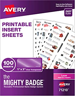 """The Mighty Badge by Avery, 1"""" x 3"""" Inserts for Name Tags, 100 Clear Inserts for Laser Printers Only (71210)"""