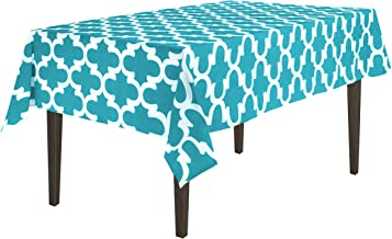 LinenTablecloth Turquoise and White Rectangular Cotton Trellis Tablecloth, 58 x 70-Inch