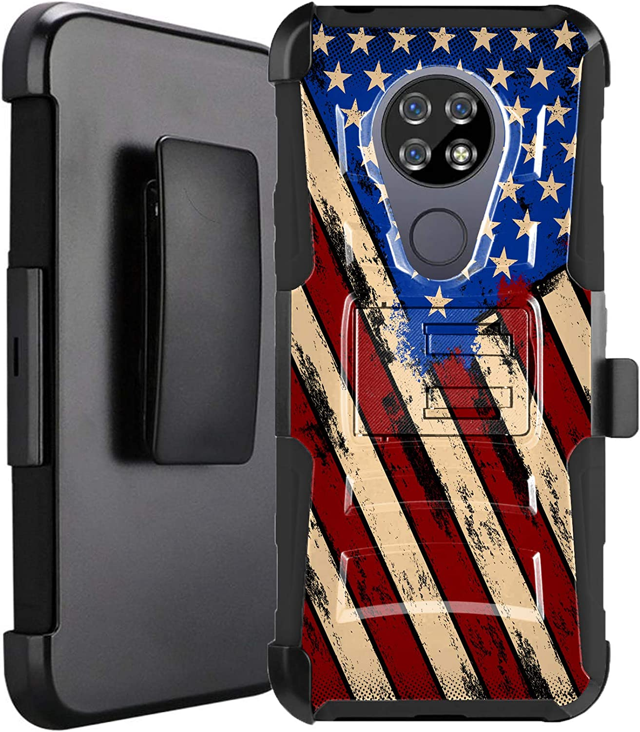 DALUX Hybrid Kickstand Holster Phone Case Compatible with Cricket Ovation/AT&T Radiant Max 4G LTE (2020) - Graffiti US Flag Print