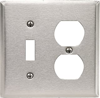 Leviton 84005-40 2-Gang 1-Toggle 1-Duplex Device Combination Wallplate, Standard Size, Device Mount, Stainless Steel