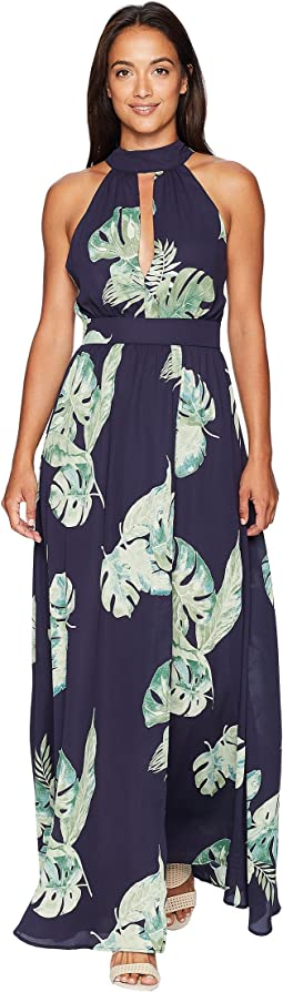 Amelia High Neck Tropical Maxi Dress