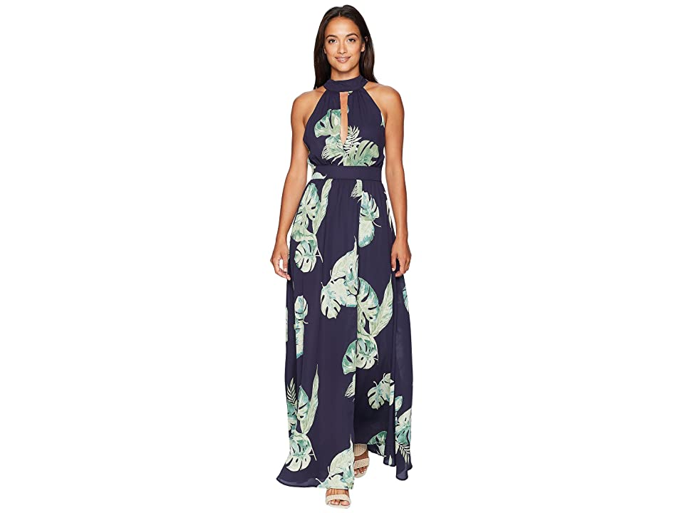 American Rose - American Rose Amelia High Neck Tropical Maxi Dress