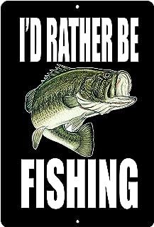 Rogue River Tactical Funny Fishing Boat Metal Tin Sign Wall Decor Man Cave Bar I'd Rather Be Fishing