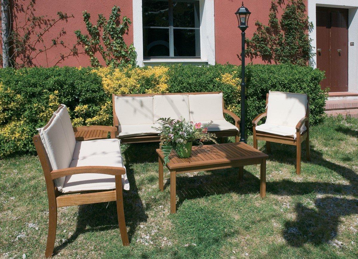 LuxuryGarden – Juego Salón sofás y sillones Bancos de madera balau de jardín para Estero Guntur: Amazon.es: Jardín