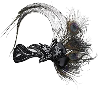Babe Yond Ladies 1920s Inspired Peacock Feather 20s Style Flapper Headband Great Gatsby Headband Set Medium Fancy Dress Costume Accessories