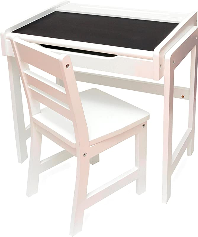 Lipper International 654WH Child S Desk With Chalkboard Top And Chair Set White