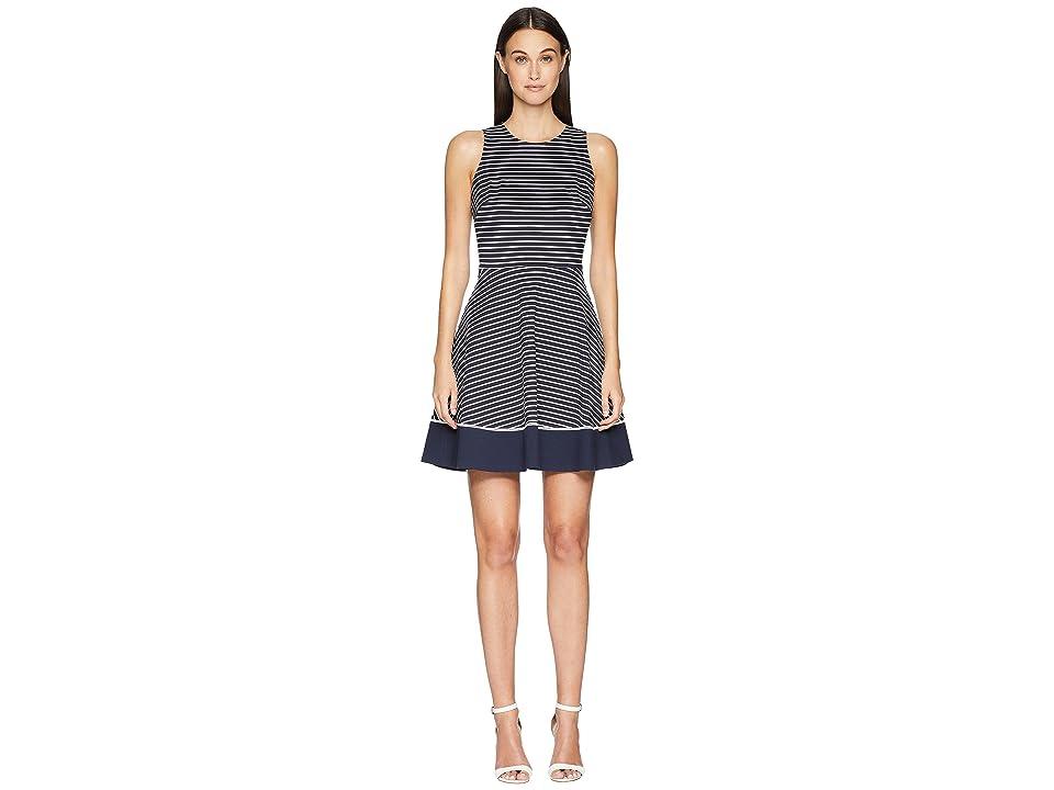 Kate Spade New York Stripe Ponte Dress (Rich Navy/Off-White) Women