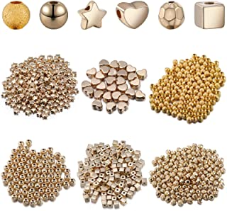 1050 Pieces DIY Gold Plated Spacer Beads, 4 mm Square Spacer Beads and Glitter Beads 6 mm Star Beads, Round Ball Spacer Be...