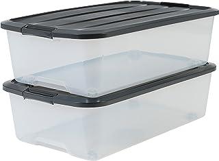 Iris Ohyama 135463 Lot de 2 Boîtes de Rangement avec roulettes pour Dessous de Lit, Plastique, Transparent Couvercle Noir,...
