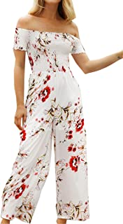 Womens Jumpsuits Floral Print Off Shoulder Romper Casual Strapless Wide Leg Pants Jumpsuit White S