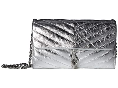 Rebecca Minkoff Edie Wallet On Chain (Silver) Handbags