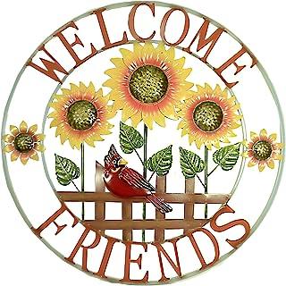 """Home & Garden Welcome Friends Wall Handing, 28.0"""", Metal, Red Bird Sun Flower, Outdoor Plaques and Wall Art, 31835580"""
