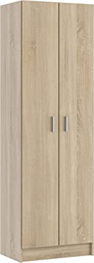 PEGANE Armoire avec 2 Portes Coloris Chêne Canadian - Dim : 180 x 58,5 x 37 cm