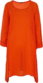 Grizas Women's Silk & Cotton Textured Dot Tunic Orange