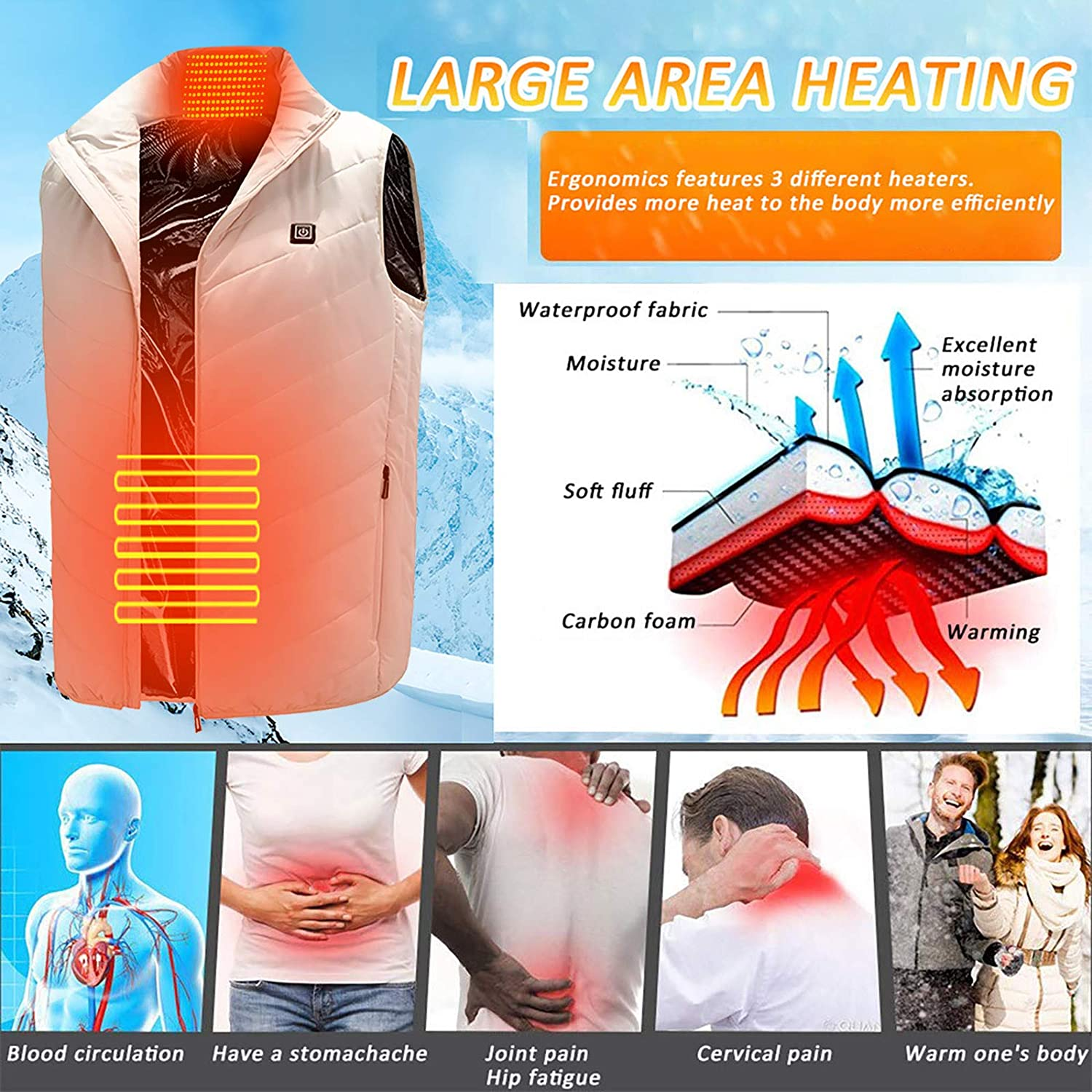 Electric Heating Clothing for Men Women Outdoor USB Heated Gilet ZHUWEI Heated Vest Warm Waistcoat for Riding Fishing