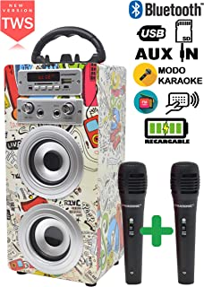 DYNASONIC - Altavoz Bluetooth con Karaoke y Micrófono (Mode
