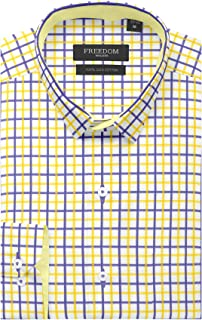 FREEDOM WALKER 100% Egyptian Giza Cotton Checkered Mens Formal and Casual Wear White Shirt Regular Fit