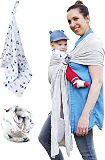 Designer Ring Sling Baby Carrier and Muslin Baby Blanket – Incredibly Soft – for Newborns, Infants and Toddlers – Ideal Baby Shower Gift - Can Hold up to 35lb