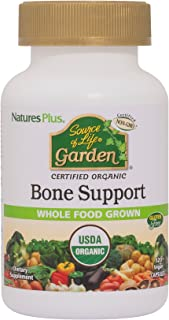 NaturesPlus Source of Life Garden Certified Organic Bone Support with AlgaeCal- 1000 mg, 120 Vegan Capsules - Whole Foods Supplement with Calcium, Magnesium - Vegetarian, Gluten-Free - 30 Servings