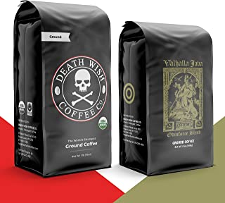 DEATH WISH Coffee - The World's Strongest Coffee [1 lb] and VALHALLA JAVA Odinforce Blend [12 oz] Ground Coffee in a Bundl...