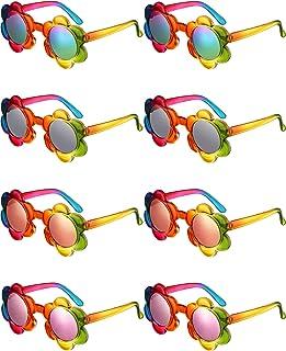 8 أزواج نظارات شمسية للأطفال من سن 1 إلى 5 سنوات نظارات شمسية ملونة على شكل زهرة للأطفال الصغار