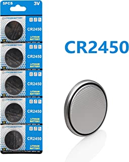 Cotchear 5pcs/Pack CR2450 Coin Battery 550mAh 3V CR 2450 Button Cell Batteries ECR2450 KCR2450 5029LC LM2450 3V Battery for Car Key Remote