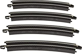 """Bachmann Trains - Snap-Fit E-Z Track 18"""" Radius Curved Track (4/card) - Steel Alloy Rail With Black Roadbed - HO Scale"""
