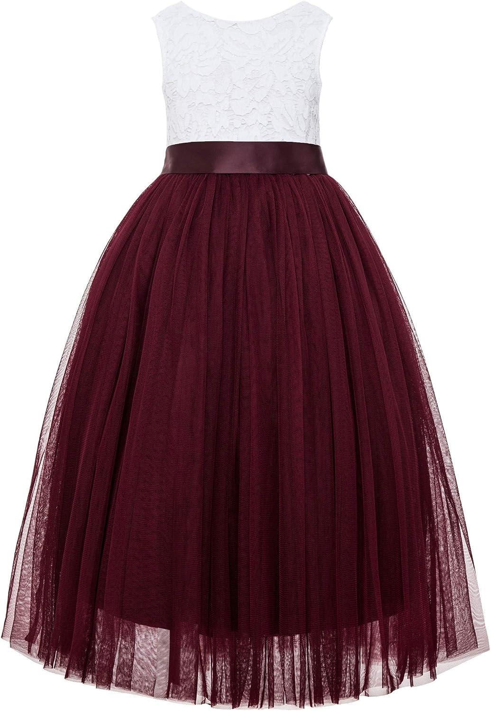 ekidsbridal Scalloped Lace Back Junior Flower Girl Dress Dance Recital Ballroom Gown 207R