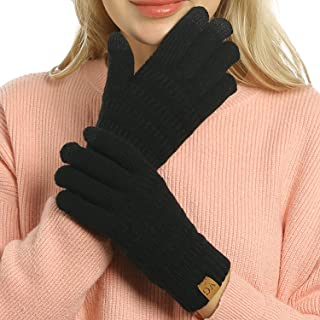 Womens Winter Touchscreen Gloves Cable Knit Warm Lined 3...