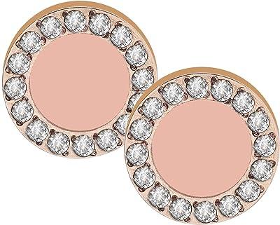 Tamaris TJ075 - Orecchini da donna Finja, in acciaio inossidabile, colore: oro rosa con zirconi e smalto