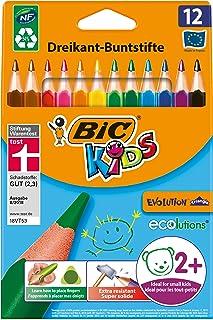 BIC Kids Evolution Triangle ECOlutions Crayons de Couleurs Triangulaires - Couleurs Assorties, Etui Carton de 12