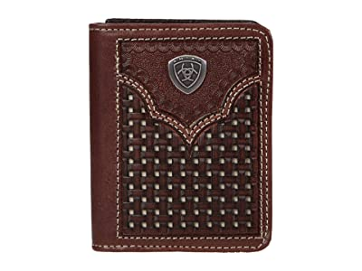 Ariat Two-Tone Basket Weave Bifold Wallet (Brown/Ivory) Bags