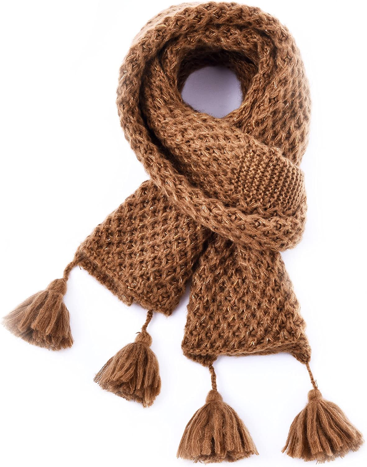 Winter Fashion Thick Knitted Scarf,RiscaWin Thick Cable Knit Wrap Chunky Warm Glitter Metallic Scarf with Pom Poms
