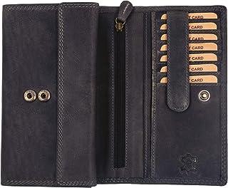 Hill Burry Damen Geldbörse | XXL Echt Leder Brieftasche - Vintage Langes Portemonnaie - RFID (Grau)