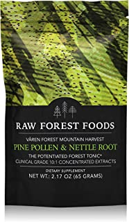 RAW Forest Foods - Pine Pollen and Stinging Nettle Root Extract Powder (65 Grams) - Potent 10:1 Herb Extract to Support Endocrine System, Boost Hormone Balance of Testosterone and Estrogen Levels