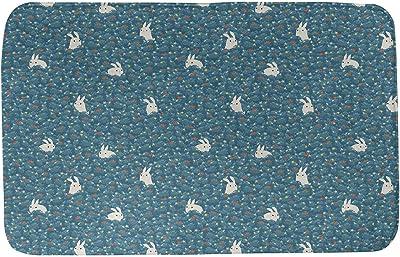 ArtVerse Katelyn Elizabeth Bunny Rabbit Pattern Bath Mat, 24 x 17, Blue