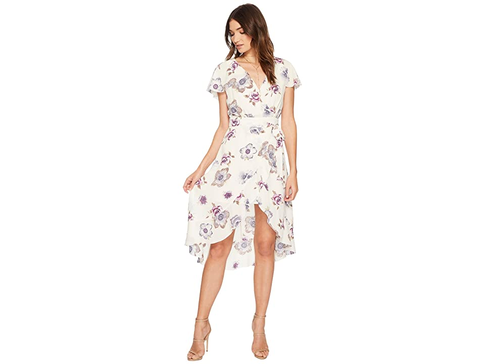 J.O.A. High-Low Wrap Dress with Ruffled Shoulder (Lavender Floral) Women