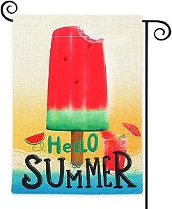 COCJCJ Summer Watermelon Popsicle Burlap Outdoor Double Sided Garden Flag 12.5X18, ice Cream Watermelon Juice Burlap Garden Party Holiday Decoration, Tropical Summer Beach Flag Outside.