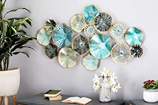 Deco 79 23488 Metal Wall Decor, Turquoise/Black/Light Blue/Gold